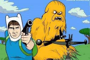 Han Solo, Chewbacca, Finn The Human, Jake The Dog, Adventure Time, Star Wars, Crossover