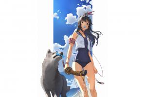 anime, Swimwear, Wolf, Sword, Anime Girls