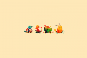 minimalism, Pikachu, Bulbasaur, Charmander, Squirtle, Sketches, Pokemon