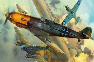 Messerschmitt, Messerschmitt Bf 109, Luftwaffe, Aircraft, Military, Artwork, Military Aircraft, World War II, Germany, Heinkel, Heinkel He 111, Hawker Hurricane, Hawker, Royal Airforce