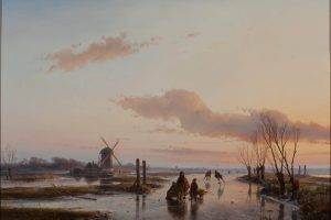 painting, Classic Art, Windmills, Landscape, Clouds, Ice, Oil Painting