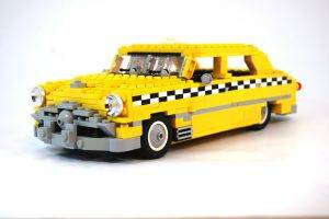 car, Taxi, White Background, LEGO, Yellow Cars, Checkered