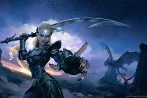 Diana, Sword, Dragon, Blonde, League Of Legends
