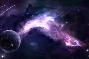 space, JoeyJazz, Nebula, Planet, Shooting Stars