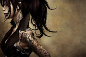 women, Tattoo, Artwork, Digital Art, Ponytail