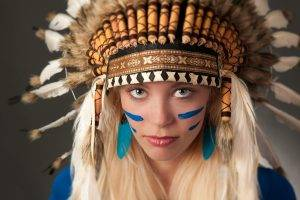 women, Blonde, Piercing, Headdress