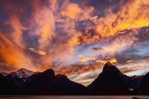 landscape, Mountain, Sunset, Lake, Clouds