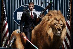 Barack Obama, Digital Art, Artwork, Lightsaber, Lion, Crossbows, Presidents, Humor, Flag
