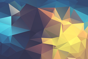 minimalism, Abstract, Low Poly, Geometry, Yellow, Blue, Digital Art, Artwork