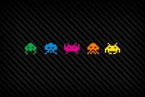 pixels, Pixel Art, Digital Art, Video Games, Space Invaders, Vintage, Aliens, Colorful, Lines, Black Background