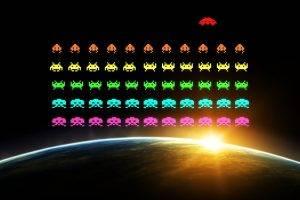 pixels, Pixel Art, Digital Art, Video Games, Space Invaders, Vintage, Aliens, Colorful, Earth, Sun, Space, Black Background