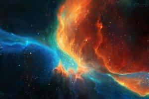 space, Stars, TylerCreatesWorlds, Space Art, Nebula, Orange