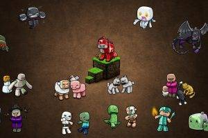 Minecraft, Video Games, PC Gaming, Gamers, Brown Background, Steve, Creeper, Zombies, Skeleton, Witch, Spider