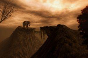 digital Art, Artwork, Drawing, Animals, Elephants, Trees, Rock, Clouds, Mountain, Brown