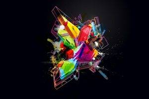 minimalism, Digital Art, Abstract, Colorful, Geometry, 3D, Glowing, Splashes