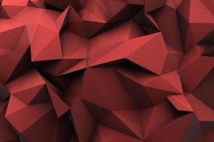 minimalism, Red, Low Poly, Abstract, Digital Art, Reflection