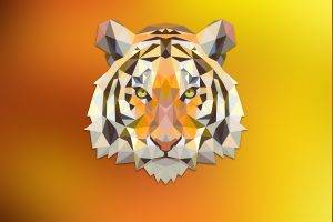 tiger, Red, Orange, Triangle, Fantasy Art, Digital Art, Animals, Low Poly