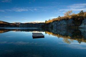 nature, Landscape, Trees, Forest, Lake, Mountain, Rock, Reflection, Pier, Wood, Clouds, Snow, Hill