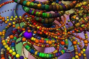 digital Art, Abstract, 3D, Ball, Sphere, Colorful, Chains