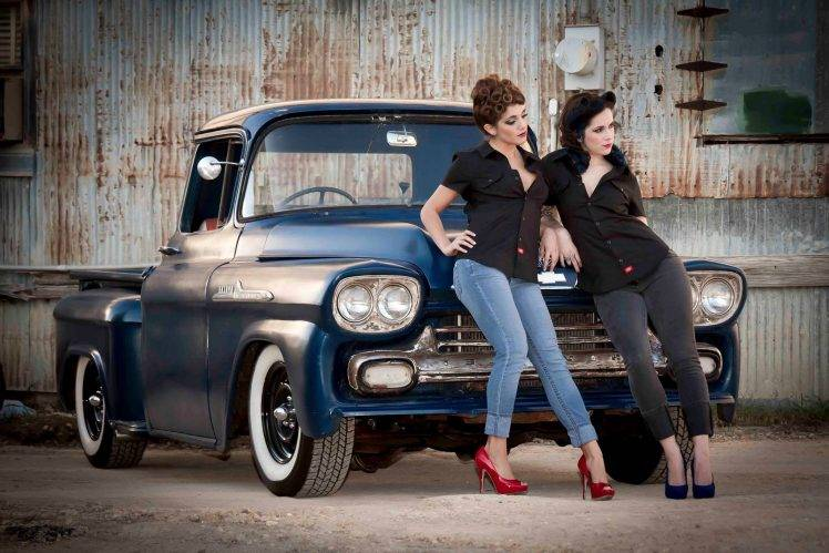 Women Car Jeans With Cars Old Chevrolet Pickup
