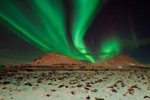 nature, Landscape, Aurorae, Snow