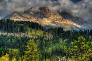 mountain, Cliff, Cottage, Forest, Lights, Trees, Clouds, Summer, Nature, Landscape, HDR