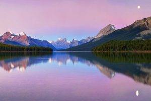 moon, Lake, Lake Maligne, Canada, Mountain, Forest, Snowy Peak, Water, Nature, Landscape