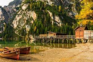 boat, Dock, Lake, Mountain, Beach, Forest, Cliff, Alps, Trees, Italy, Nature, Landscape