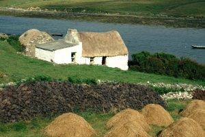 nature, Landscape, Architecture, Old Building, House, Hill, Stones, Rock, Plants, River, Boat, Grass, Straw