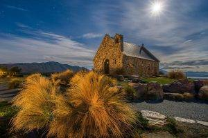 nature, Landscape, Architecture, Old Building, House, Hill, Stones, Rock, Plants, Night, Moon Rays, Clouds, Stars, Path, Mountain, Shadow, Long Exposure