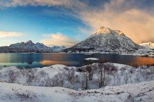 winter, Sunrise, Lofoten, Norway, Mountain, Snow, Fjord, Panoramas, Nature, Villages, Landscape