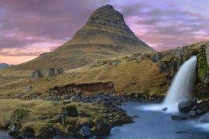 nature, Landscape, Waterfall, Mountain