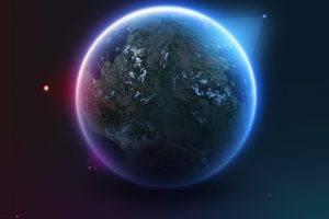 planet, Stars, Satellite, Earth, Artwork, Digital Art, Space Art