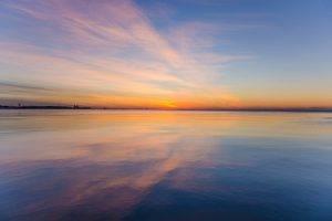 landscape, Sunset, Clouds, Sea