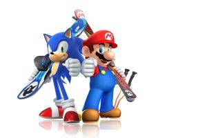 Mario Bros., Sonic The Hedgehog, Video Games, Skis, Snowboards, Simple Background, Mario  And  Sonic At The Sochi 2014 Olympic Winter Games