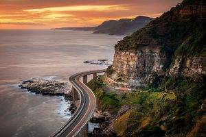 nature, Landscape, Sunset, Sea, Coast, Highway, Cliff, Clouds, Mountain, Shrubs