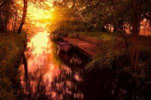 nature, Landscape, Sunset, Trees, Boat, Dock, Canal, Shrubs, Calm, Yellow, Water, Grass