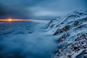 nature, Landscape, Sunset, Clouds, Mountain, Mist, Snow, Blue