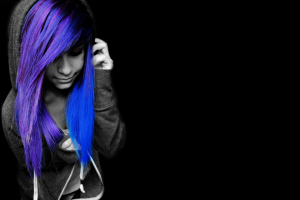 black, Selective Coloring, Emo, Blue Hair, Purple Hair, Black Background
