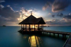 landscape, Pier, Nature, Shadow, Gazebo, Sunset, Evening, Clouds, Long Exposure, Water, Calm, Coast, Sea, Boat, Sunlight