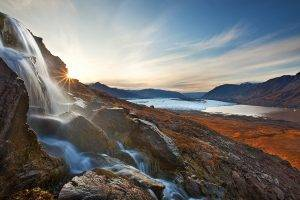 nature, Landscape, Sunrise, Waterfall, Glaciers, Mountain, Clouds, Morning