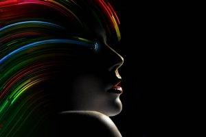 Wonder Woman, Abstract, Dark, Colorful, Black Background, Women, Photo Manipulation, Lipstick, Red Lipstick, Face