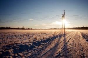 landscape, Nature, Snow, Power Lines, Sunlight, Field