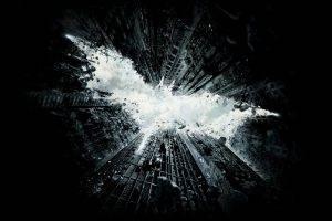digital Art, Minimalism, Simple, Simple Background, Batman, Batman Logo, DC Comics, Rock, Clouds, Skyscraper, Sky, Falling, Gotham City, Black Background, Fictional, Ruin