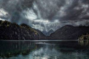nature, Landscape, Lake, Forest, Fall, Clouds, Sun Rays, Mountain, Germany, Dark, Water