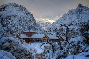 hotels, Mountain, Winter, Chile, Snow, Nature, Trees, Sunset, Landscape, Cold, Andes
