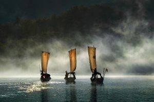 nature, Landscape, Boat, Mist, Sunrise, Hill, Forest, Water, River