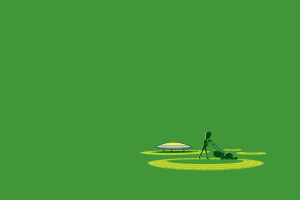 digital Art, Minimalism, Humor, Simple Background, UFO, Lawnmowers, Circle, Grass, Green Background, Aliens