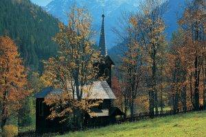 nature, Landscape, Architecture, Trees, Forest, Tatra Mountains, Slovakia, Mountain, Fence, Church, Wood, Hill, Fall, Grass, Field, Valley