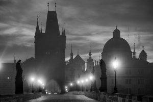 nature, Landscape, City, Bridge, Lantern, Monochrome, Clouds, Lights, Building, Sunrise, Architecture, Prague
